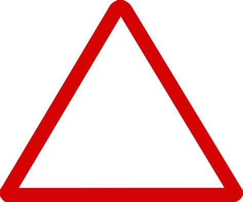Thin Red Triangular Sign Clip Art at Clker