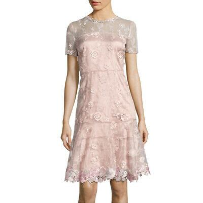 ELIE TAHARI Bamboo Aura Blush Pink Floral Embroidered